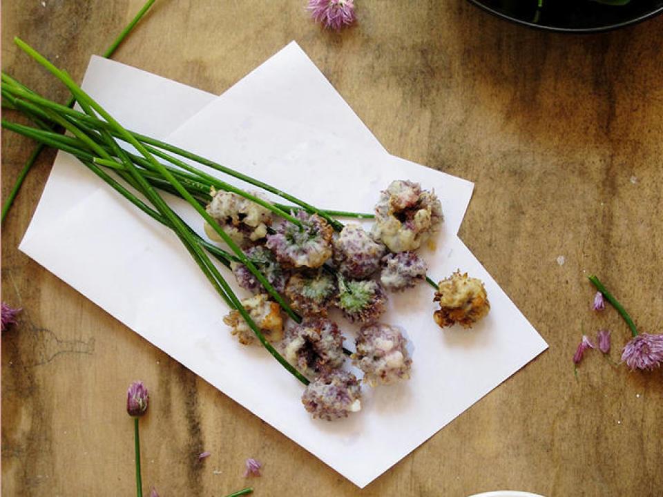 Gefrituurde biesblookbloemetjes met sojasaus en cider